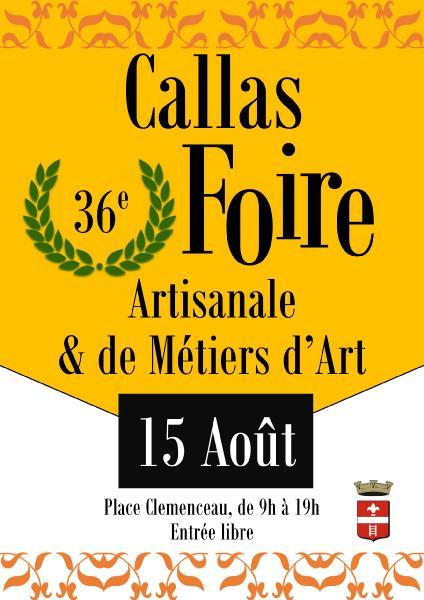 Affiche de la 36ème Foire Artisanale et des Métiers d'Art de Callas le 15 Août 2019